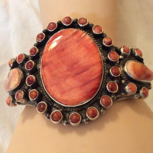 Navajo Red Spiny Oyster Cluster Bracelet Signed Dean Brown