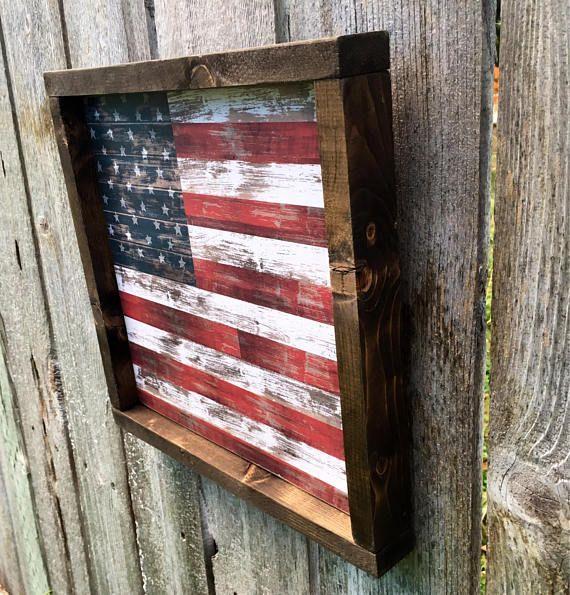 Framed American flag wood sign.