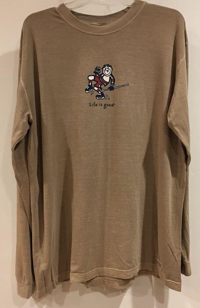 LIFE IS GOOD MENS T-shirt JAKE FIST PUMP HOCKEY Long Sleeve L  | eBay