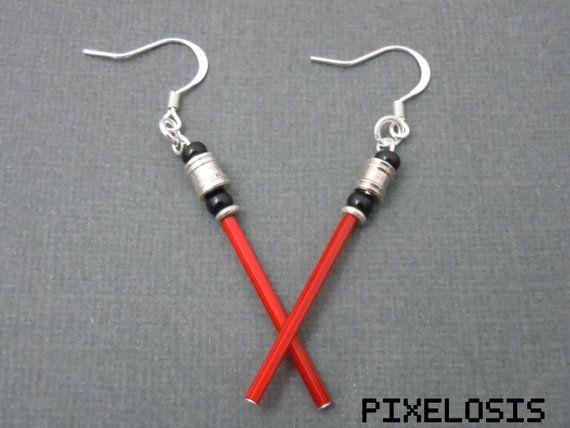 Glowy Red Lightsaber Earrings Star Wars Jewelry by Pixelosis