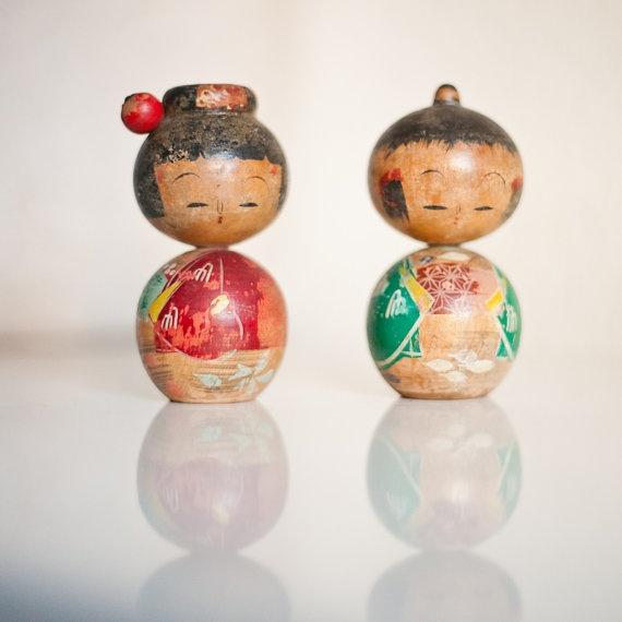 Vintage kokeshi couple.