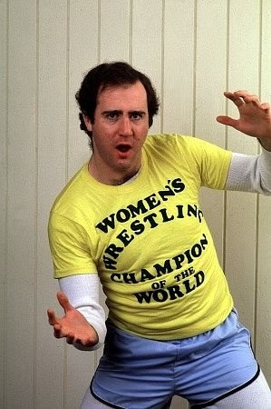 """Andy Kaufman: My dad and I were already well aware of Andy Kaufman's """"Foreign Man"""" act and his conga playing from his appearances on Dick Van Dyke's variety show. So it was no surprise when in July of 1977, I caught a rerun of Saturday Night Live where Andy transformed his foreign man character into Elvis Presley and brought the house down. He started to lose me with the wrestling stuff, but his Mighty Mouse bit is nothing short of unadulterated genius."""