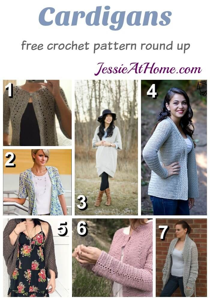 Free #crochet cardigan patterns via @jessie_athome