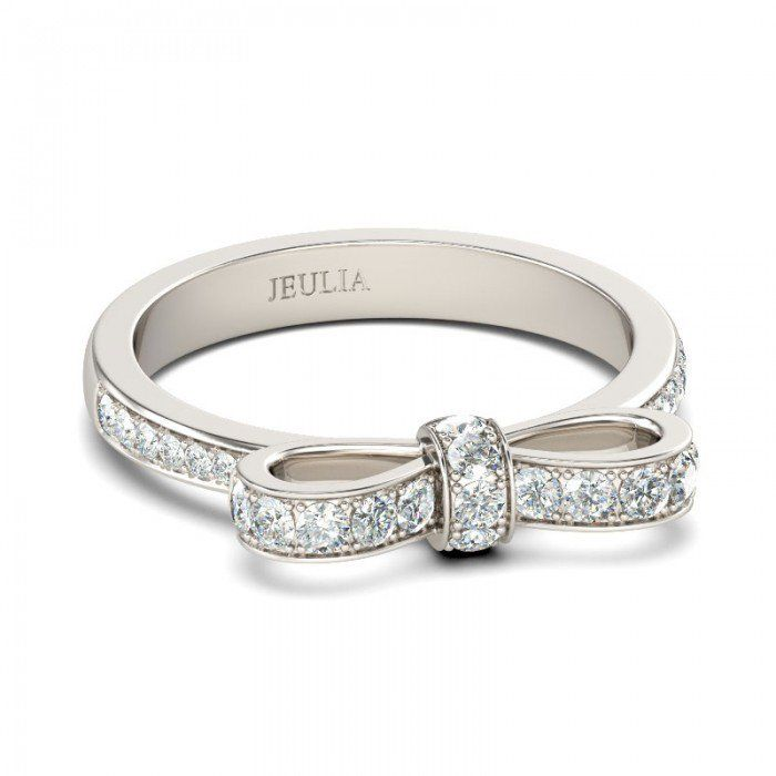 Jeulia Bowknot Round Cut Created White Sapphire Promise Ring - Jeulia Jewelry