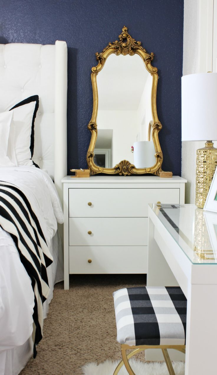 white bedroom furniture decorating ideas. Black, White And Gold Bedroom Decor | Blue Accent Wall Black Bedding Furniture Decorating Ideas I