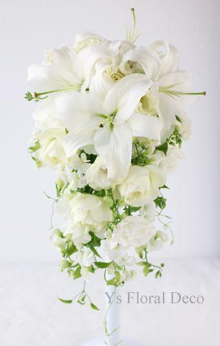 ユリとスイトピーのキャスケードブーケ  ys floral deco