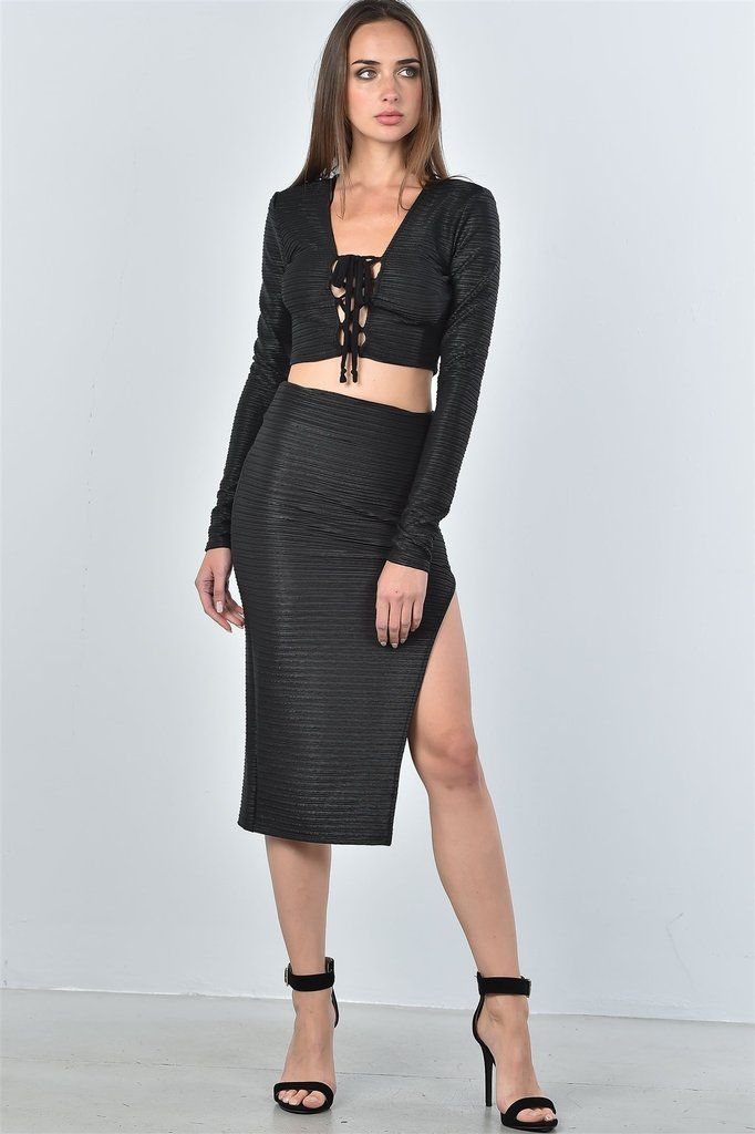 6f8cb5bbb Ladies fashion black textured lace up top and high split midi skirt two  piece set