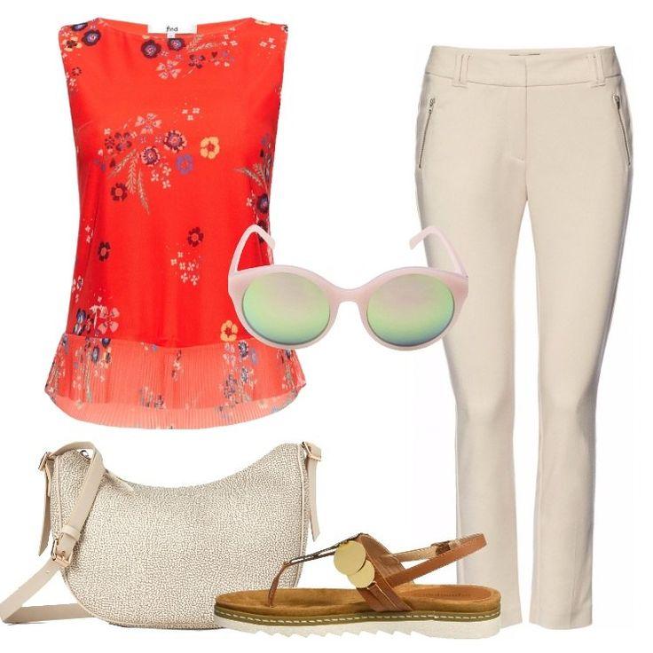 Outfit grazioso e pratico composto da pantalone avorio a sigaretta, tasche con zip, lunghezza alla caviglia, abbinato a blusa rossa in fantasia floreale, volant plissettato, senza maniche. Sandalo infradito cuoio, applicazioni in metallo, suola in gomma bianca, borsa Borbonese, a spalla, chiusa con zip, tracolla regolabile, originali occhiali da sole con montatura rosa chiaro, lenti antiriflesso verdi.