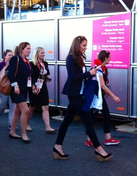 Kate was in the Olympic park watching GB's women's hockey team. She wore her Smythe Blazer and white Team GB polo shirt. August 8, 2012