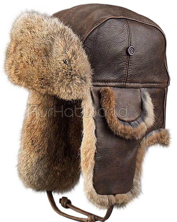 Vintage Rodeo Leather Rabbit Fur Aviator Hat: FurHatWorld.com