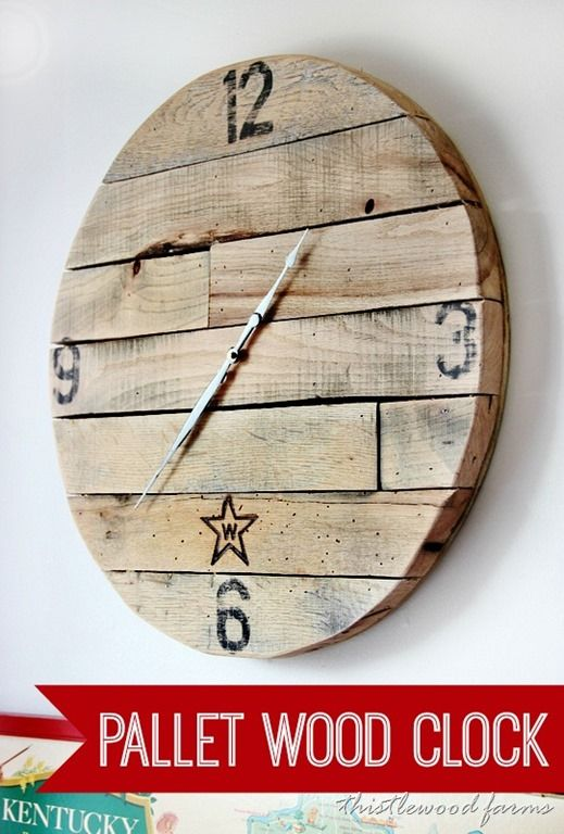 How to make a pallet wood clock. Make a clock using plywood and pallet wood and clock hands. Fun project for your wall using simple re-purposed materials.