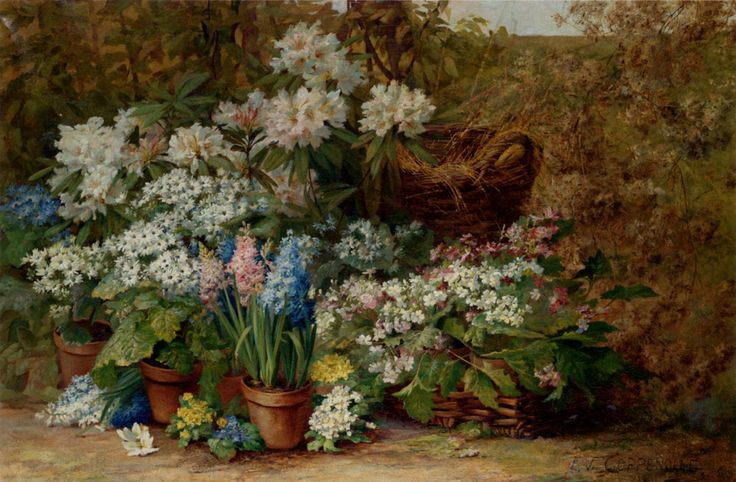 Edmond Van Coppenolle (1846-1914)  Still Life With Potted Plants In A Nursery