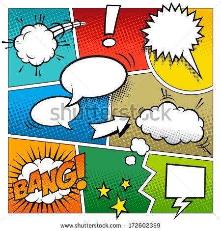 """""""Uma maqueta vetorizada muito detalhada de uma página típica de quadrinhos com vários balões de fala, símbolos e efeitos sonoros e coloridos em fundos halftone."""""""
