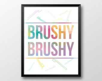 Bathroom Printable Art Flossy Flossy Rainbow by NoondaybyTracey