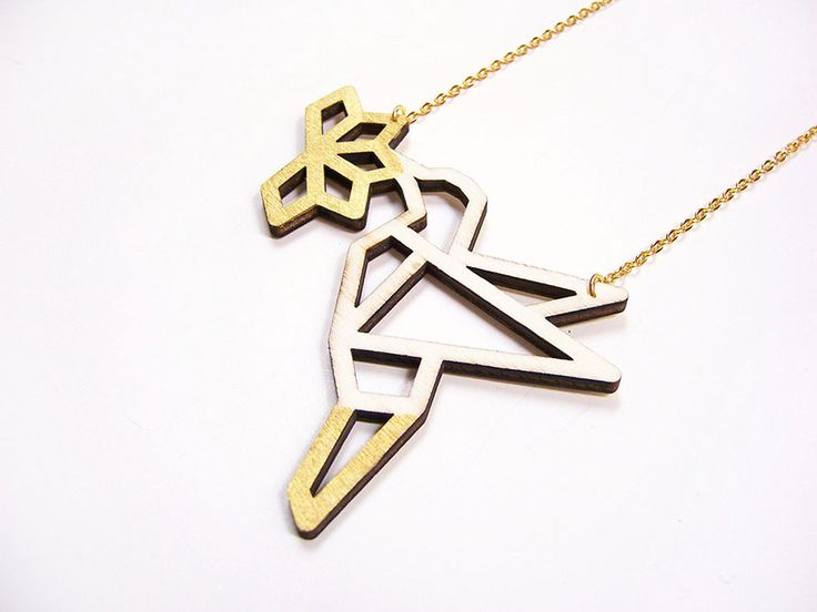Hand painted, laser cut, plywood pendant - Bird with flower - outline