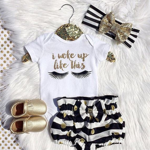 I Woke Up Like This Baby Bodysuit Shirt Gold by kateandsophia