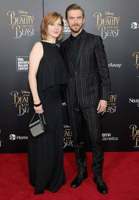 Dan Stevens with wife Susie Hariet for the New York screening of Beauty and the Beast in March 2017....