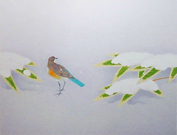 'Cold Day' silkscreen by Atsushi UEMURA - Japanese Painting Gallery