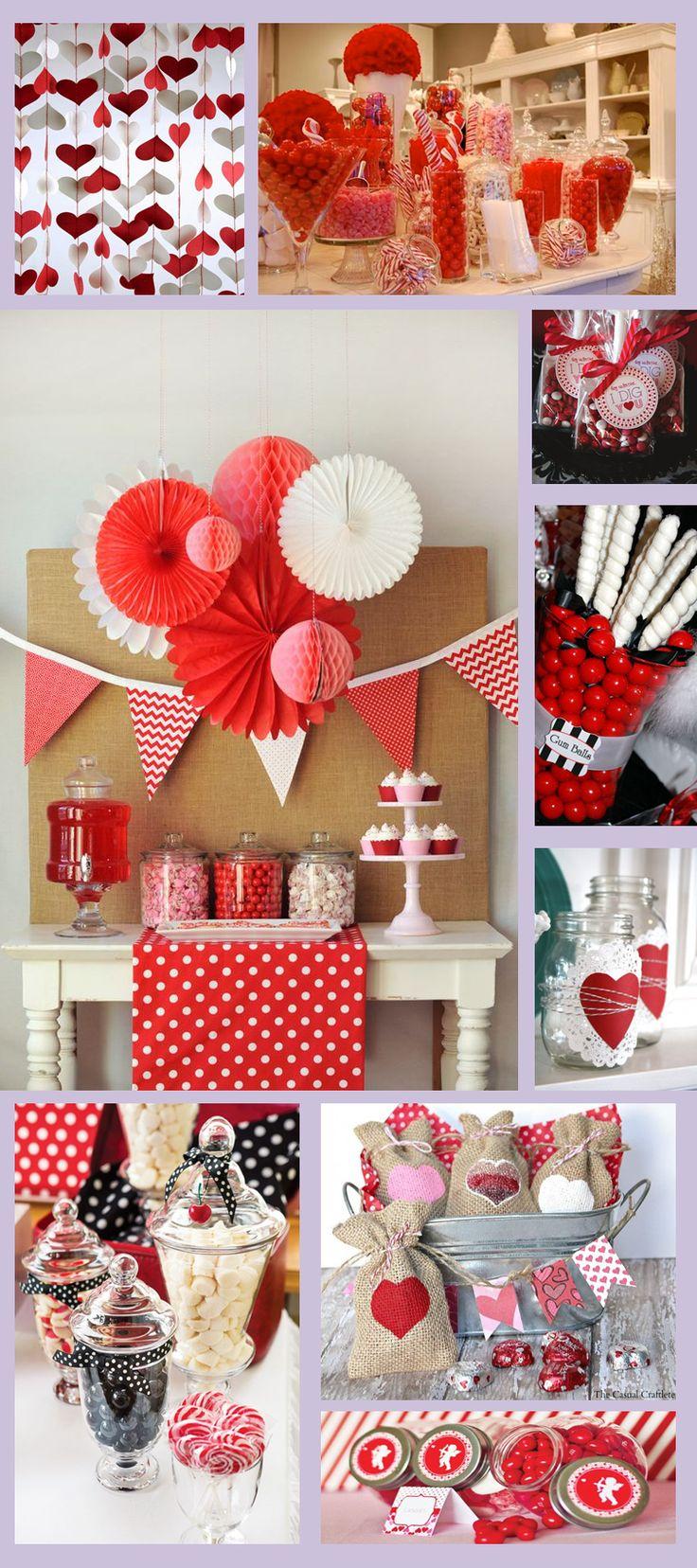 Candy Bar rojo y blanco. Mesa de Dulces San Valentín.