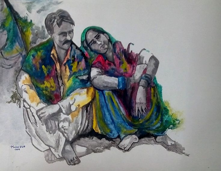 This artwork pictured a couple, sitting together and supporting each other in bad times, which is not everyone's cup of tea. #IndianArt #Morning #Couple #Love #Support #Care #Acrylic