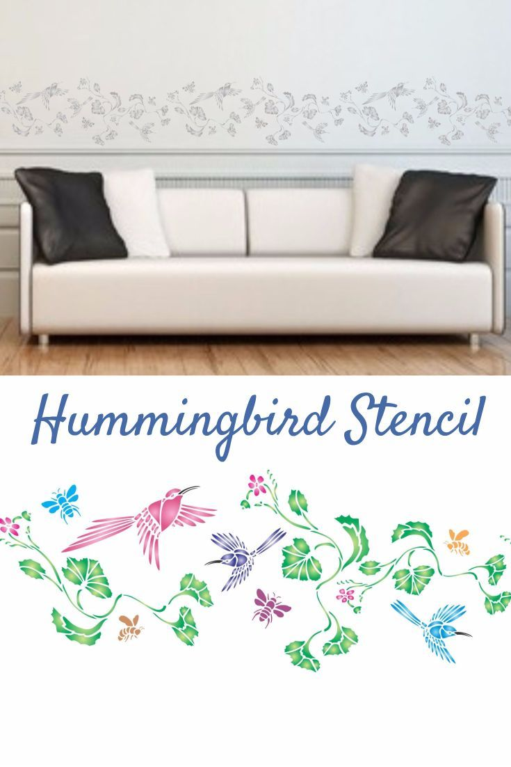 This Beautiful Hummingbird Stencil Is An Easy Way To Add Some Whimsy Your Walls Or
