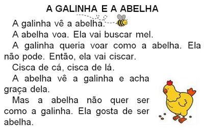 ATIVIDADES PARA EDUCADORES: 2º ANO TEXTO PARA LEITURA E INTERPRETAÇÃO A GALINH...
