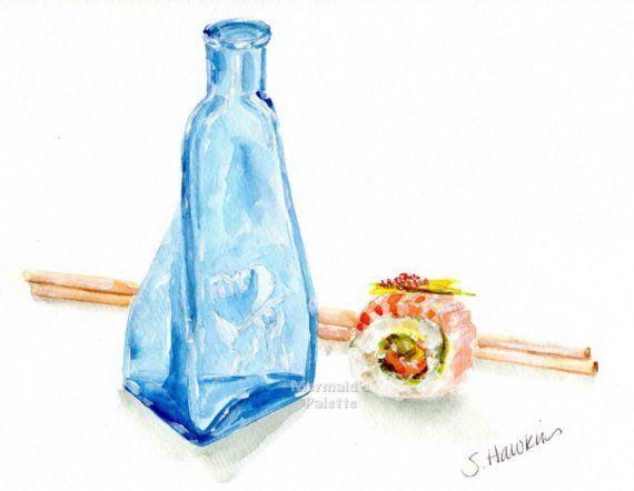 Watercolor print Sake and Sushi blue sake by MermaidsPalette
