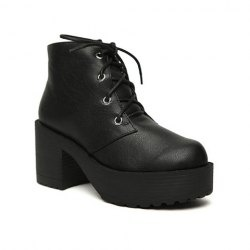 $26.93 Vintage Laconic PU Leather Women's Short Boots With Black and Platform Design
