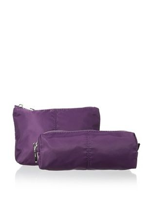 54% OFF co-lab by Christopher Kon Women's 2-Piece Nylon Cosmetic Case Set, Purple