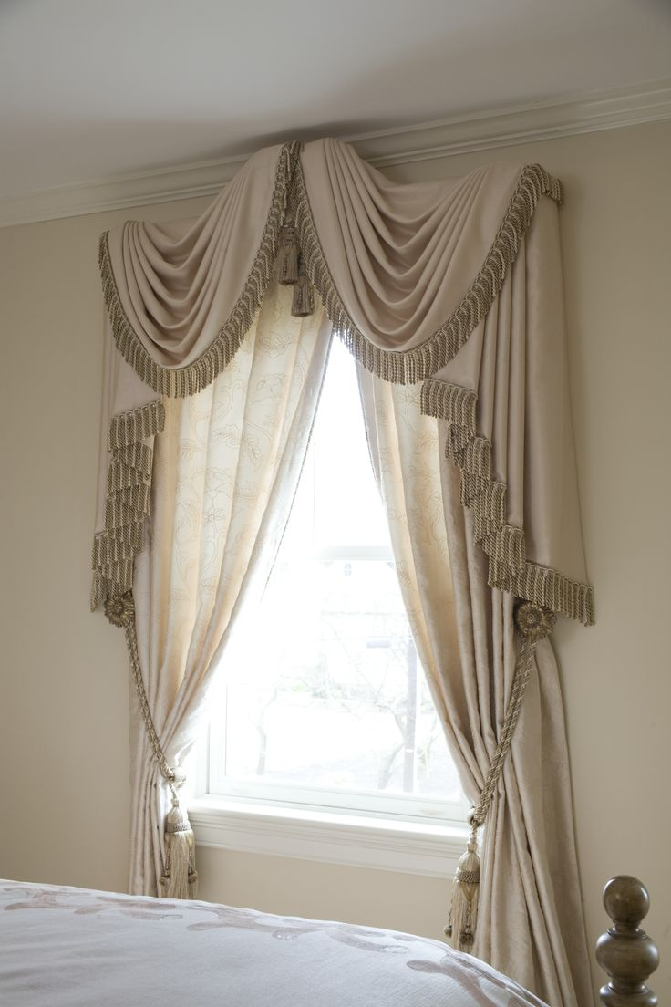 MDK Design Associates custom drapery with swag detail and tassel embellishments.