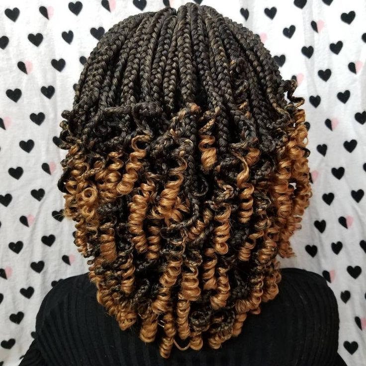 Handmade Box Braid Braided Lace Front Wig With Curly Ends