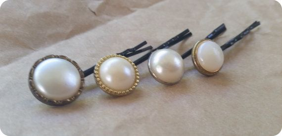 Polished and Whimsical - Tick! 4 Piece Set Faux Pearl Vintage Button Bobby Pin Hair Clips *Kitsch Wedding Bridesmaid Bridal Accessory Pins Deco Kawaii Christmas Stocking Shop here - etsy.com/au/shop/patobella