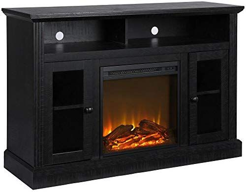 Amazon Com Ameriwood Home Chicago Fireplace Tv Stand For Tvs Up To 50 Black Kitchen Dining In 2020 Fireplace Tv Stand Best Electric Fireplace Electric Fireplace Tv Stand