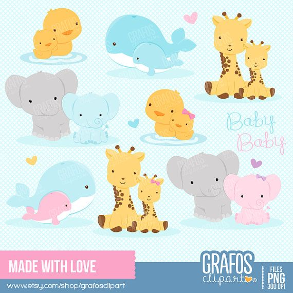 MADE WITH LOVE - Digital Clipart Set, Animals Clipart, Zoo Clipart, Baby Shower Clipart, Whale Clipart.