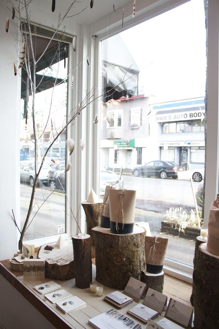 TROUT & CO. December 2014 window display #vancouver #shop #eastvan #leatherbags