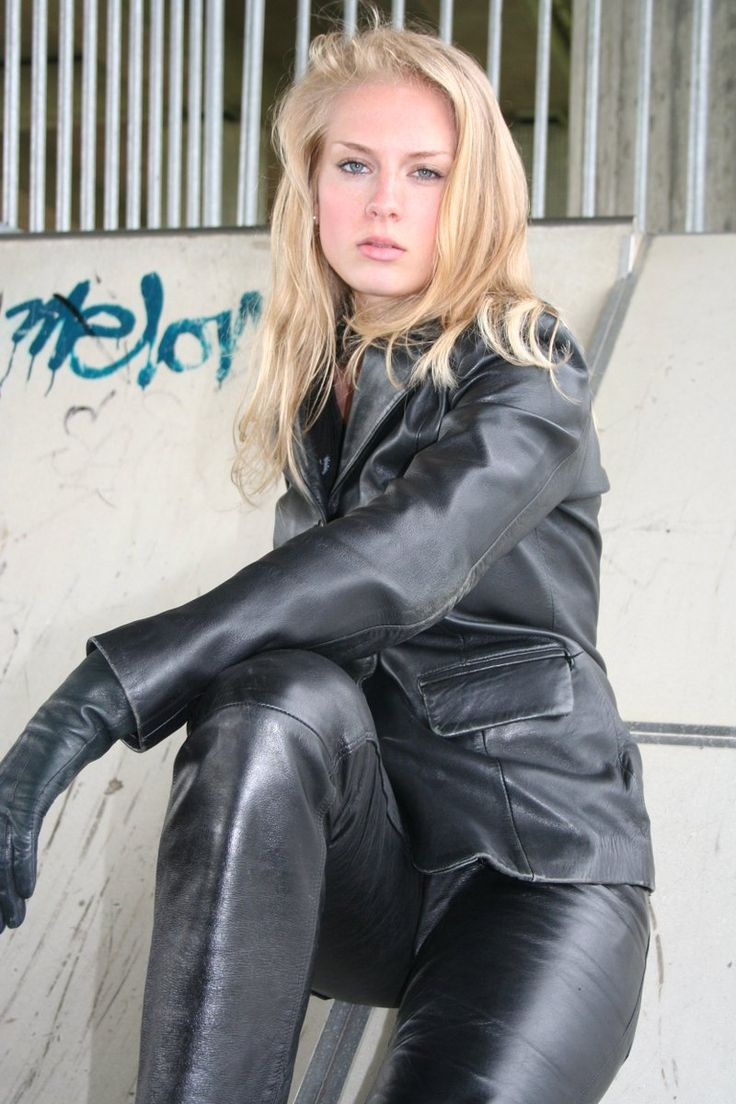 blonde-in-black-leather