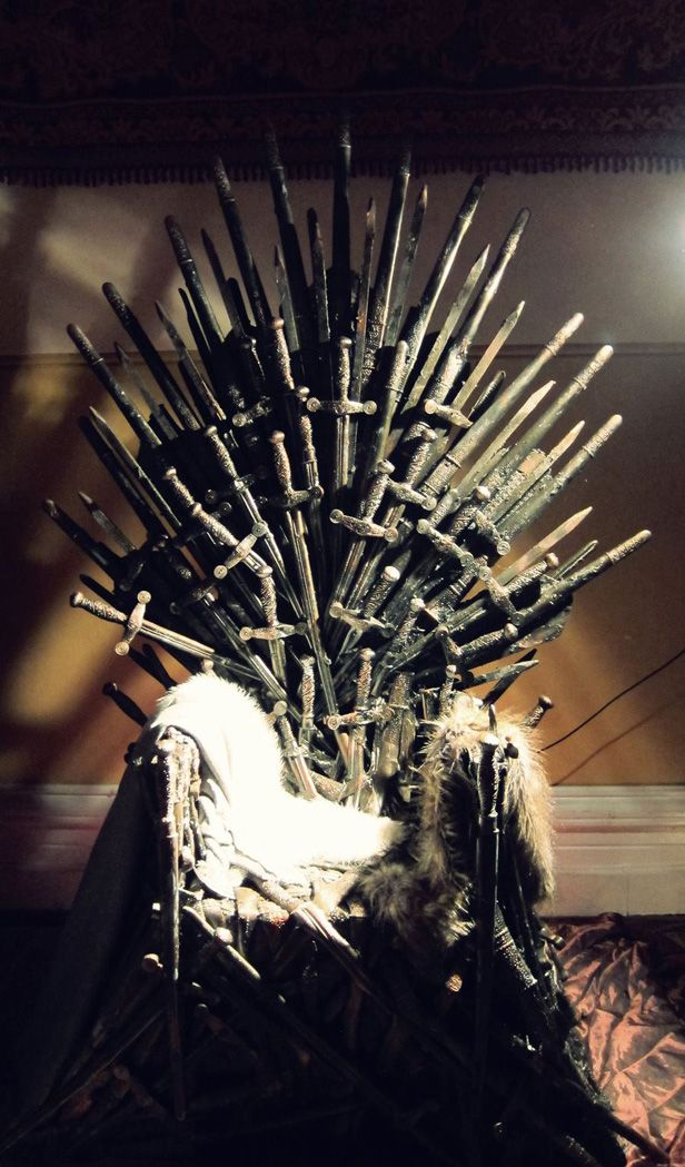 The Iron Throne, made from plastic swords, spray paint, and hot glue