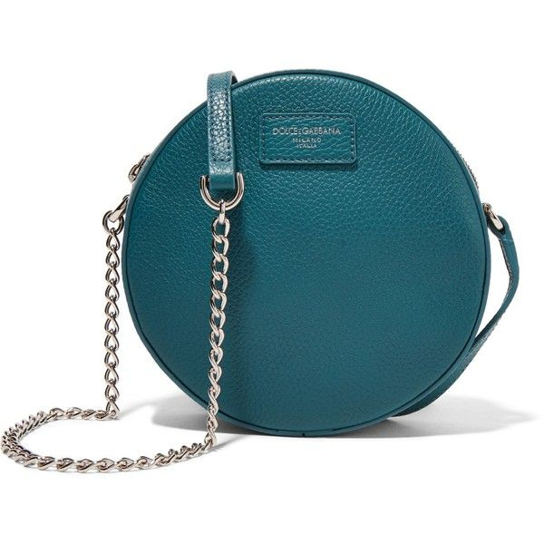 DOLCE & GABBANA   Textured-leather shoulder bag (14.231.910 VND) ❤ liked on Polyvore featuring bags, handbags, shoulder bags, blue shoulder handbags, zip purse, dolce gabbana handbags, teal purse and dolce gabbana purses