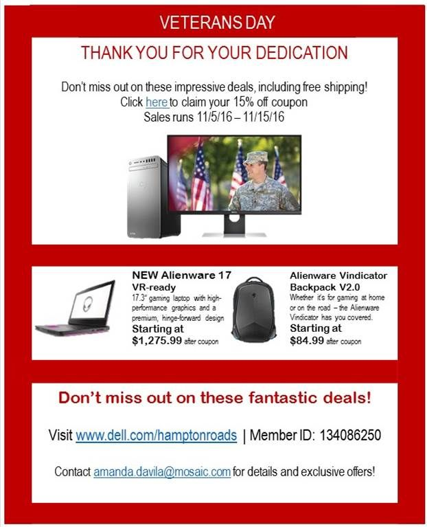 Dell Military Honoring The Military Community This Veterans Day With Huge Sales & Increased Military Discount