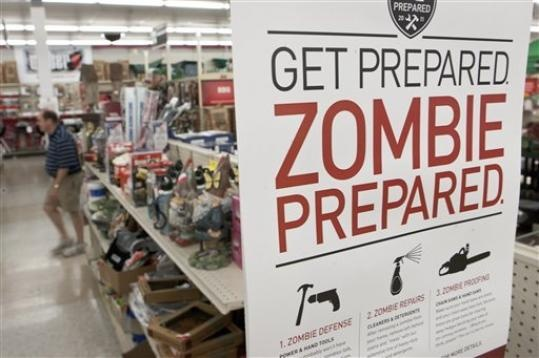 A sign promoting zombie preparedness displays in a hardware store in Omaha, Neb.