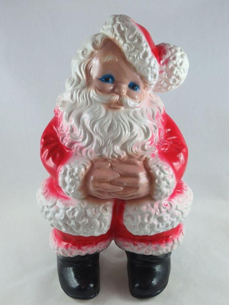 "Vintage Mid-Century Large 15"" Christmas Figural CHALKWARE Bank-JOLLY SANTA CLAUS"