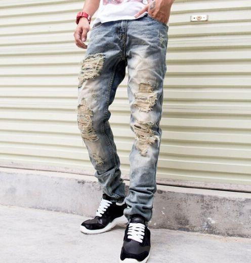 29.80$  Buy here - https://alitems.com/g/1e8d114494b01f4c715516525dc3e8/?i=5&ulp=https%3A%2F%2Fwww.aliexpress.com%2Fitem%2FMen-s-fashion-vintage-hole-ripped-biker-jeans-Male-casual-slim-patch-high-quality-denim-pants%2F32720457107.html - Men's fashion vintage hole ripped biker jeans Male casual slim patch high quality denim pants Long trousers 29.80$