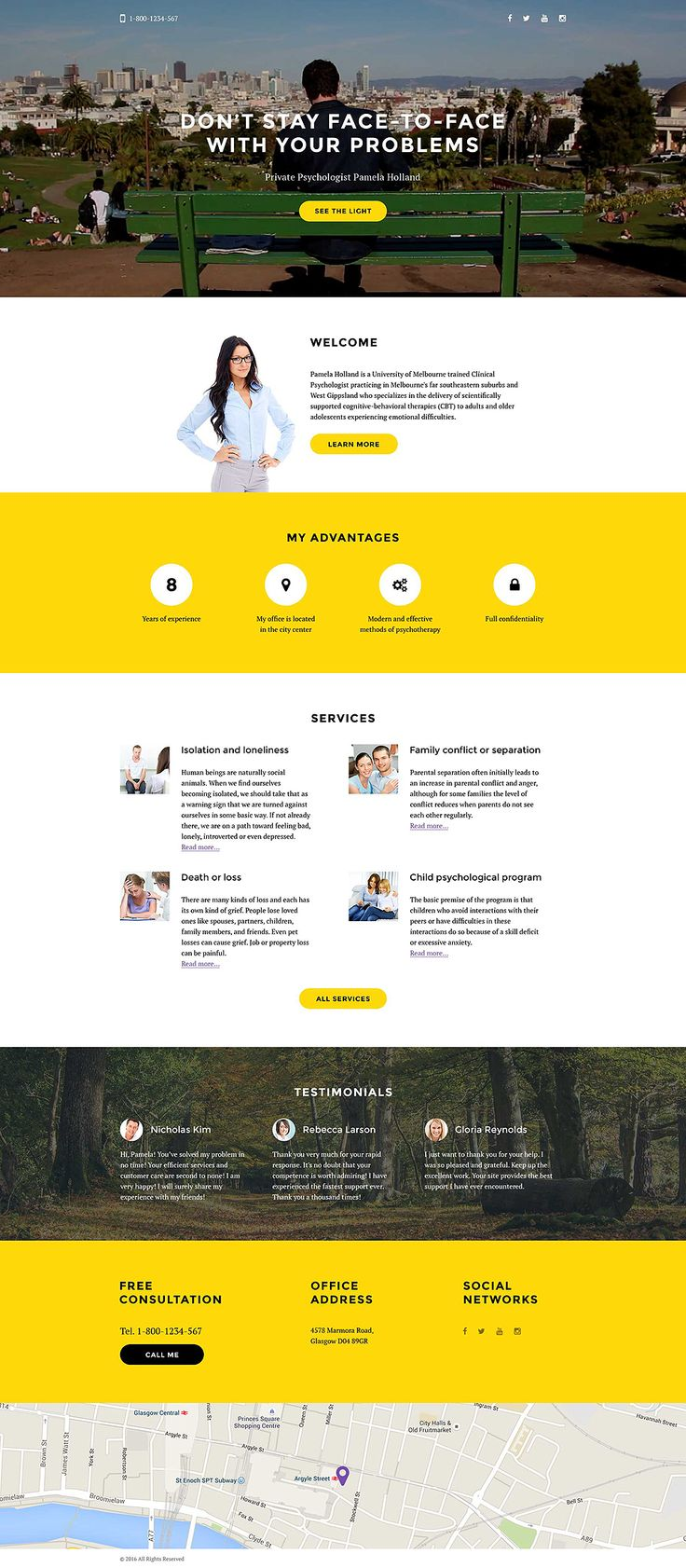 Psychologist Responsive Landing Page Template #58162