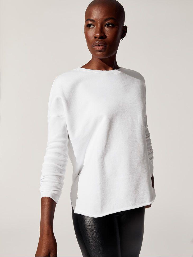 cd2ba2f085a FRANK   EILEEN TEE LAB Relaxed Long Sleeve Sweatshirt Whiteout LONG SLEEVE  TEES