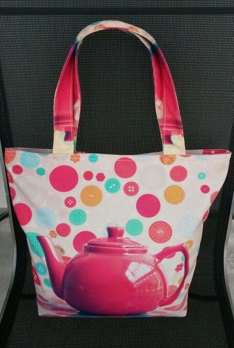 Tea pot canvas totebag. See www.flirty-poodle.com for more details