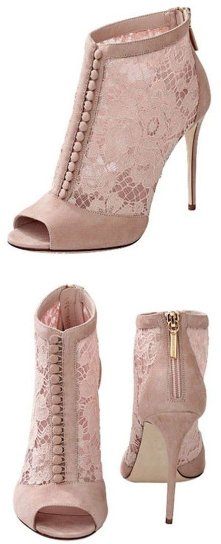 2016 Shoespie Pink Lace Patchwork Button-Loop Fashion Boots