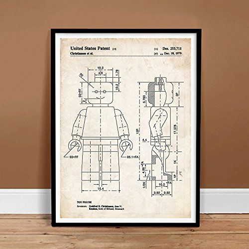 "LEGO MINIFIGURE Poster Toy Building Construction Blocks 1979 US Patent Poster Print 18"" x 24"" Mini Figure Gift Parchment Reproduction The Lego Movie Steves Poster Store http://www.amazon.com/dp/B00KSL4BZ6/ref=cm_sw_r_pi_dp_9odRub15V2D3G"