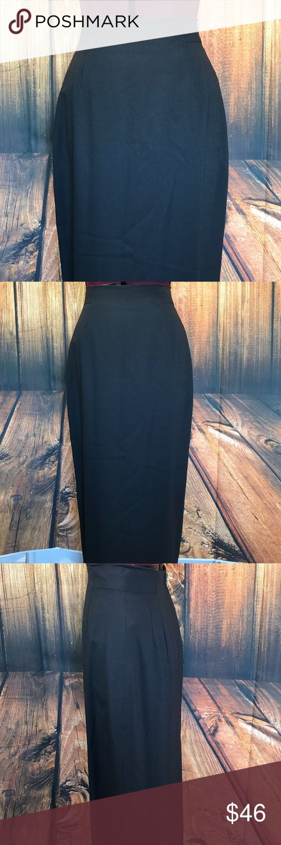 """Bebe High Waist Full Length Sexy Pencil Wool Skirt Fabulous skirt by Bebe  High waist  Darts in front and back  Center back Zip  Center back kick vent  Charcoal gray color  100% wool  Size 8  Measures 13"""" across waistband, flat  Measures 19"""" across at hip area, 12"""" down from the waistband  Measures 36.5"""" long  Gently worn, good condition  Super chic! bebe Skirts Pencil"""
