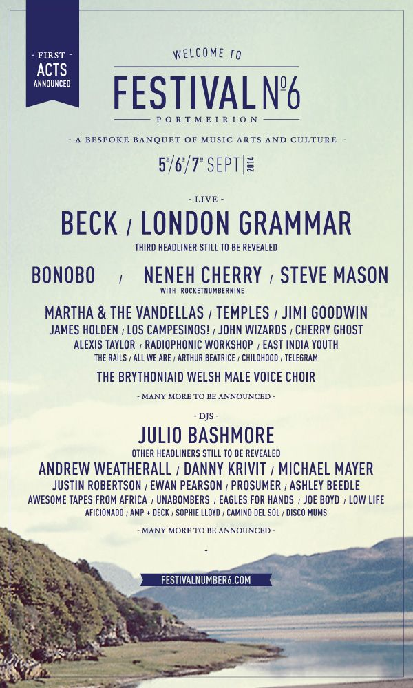 Festival Number 6, 2014 initial line-up