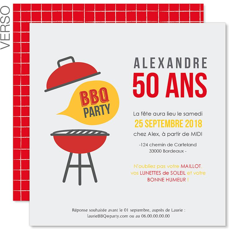 Humour invitation anniversaire 50 ans sur le th me barbecue personnalis - Idees pour barbecue party ...